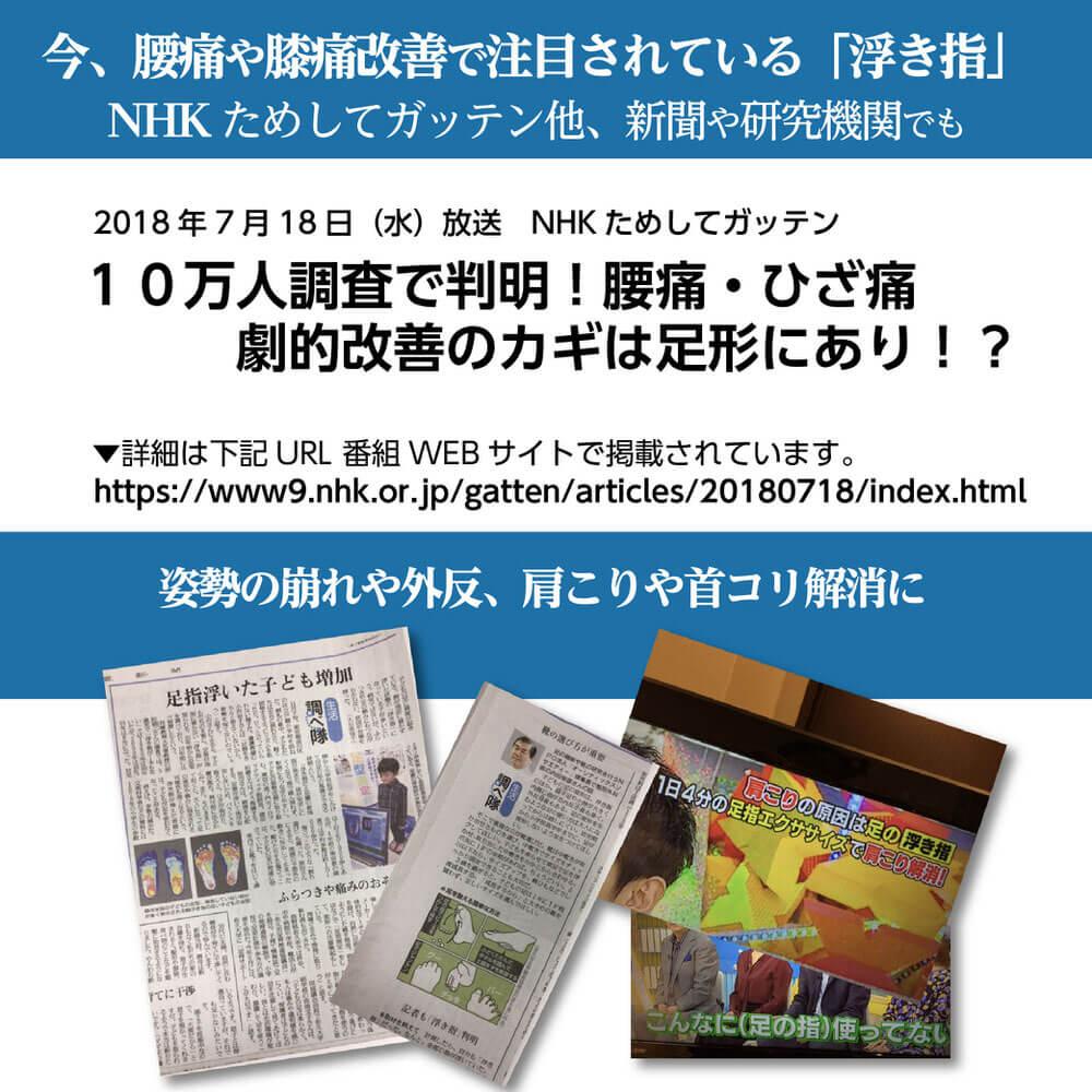 足ゆび運動ぞうり 八代産い草モデル +プラス 今、腰痛や膝痛改善で注目されている「浮き指」 NHK ためしてガッテン他、新聞や研究機関でも